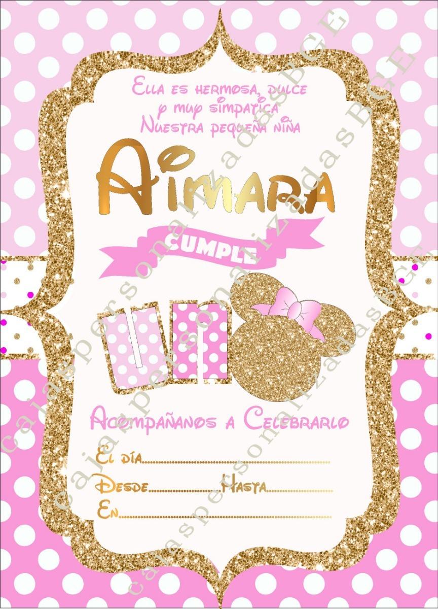 20 Invitaciones Minnie Dorada
