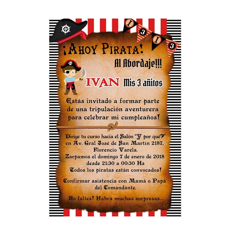 20 Invitaciones Personalizadas De Pirata Tarjeta Cumpleaños