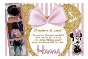 50 Invitaciones Personalizas Minnie Mouse Dorado Minie Minny