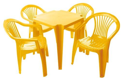 20 jogos de mesas c/80 sup182kg cadeiras amarelas  plást emp