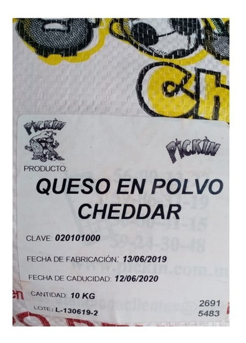 20 kg queso cheddar: palomitas, papas, chicharrones