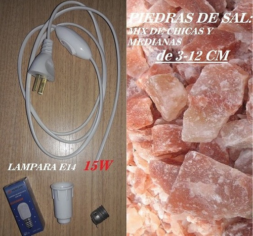 20 kit cable blanco foco 15w y 20 kg de piedra de sal ch/med