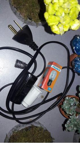 20 kit cables negros foco 5w y 20 kg de piedra de sal ch/med