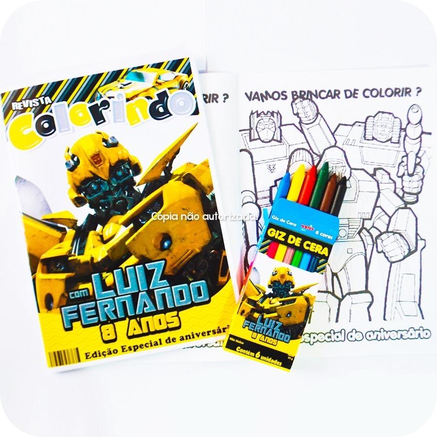 20 kit revista giz colorir transformers festa lembrança r 90 00