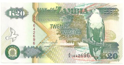 20 kwacha - zâmbia - animais - pássaros