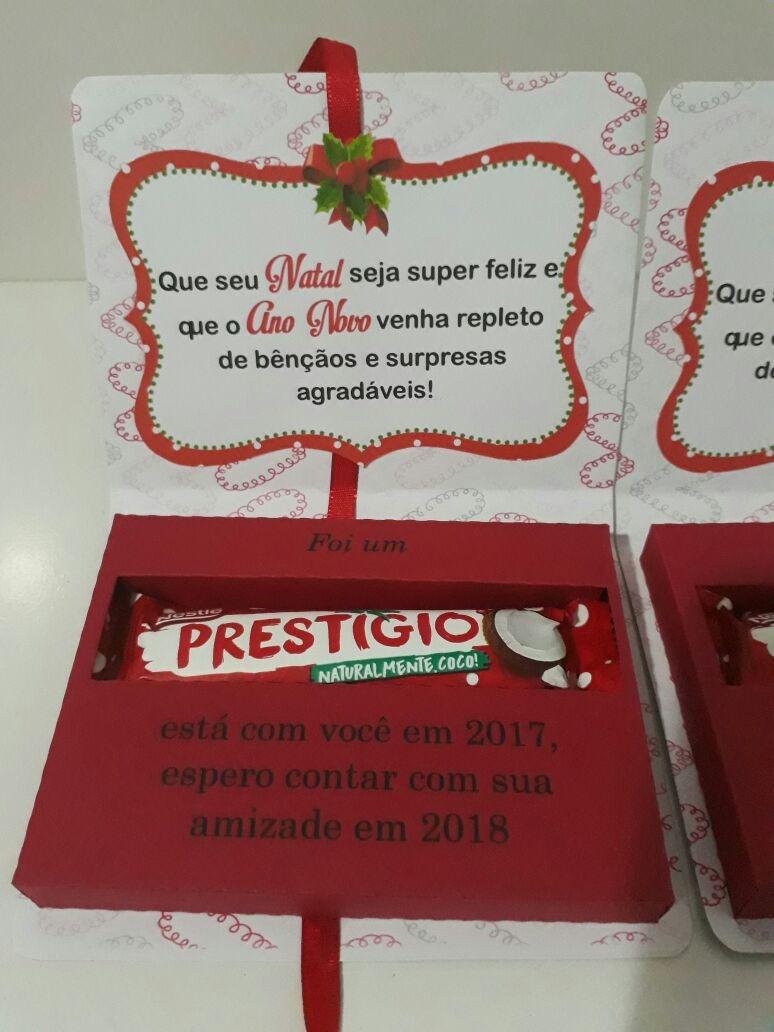 20 Lembrancinha De Natal Caixa Prestigio Com Chocolate R 9900 Em