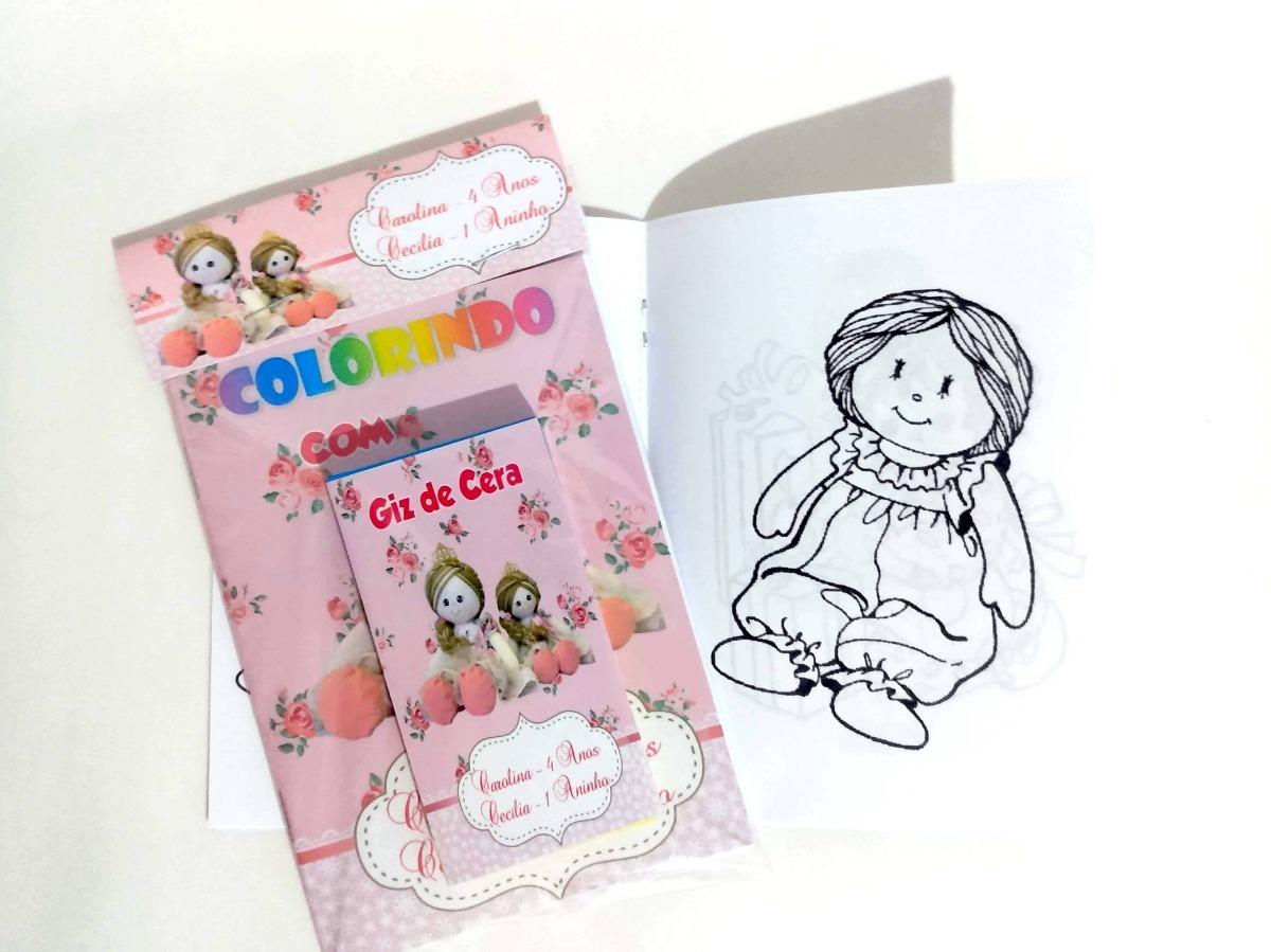 20 Livro Colorir Bonecas De Pano Com Giz De Cera R 50 00 Em