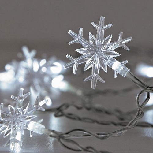 20 luces led figuras copo de nieve