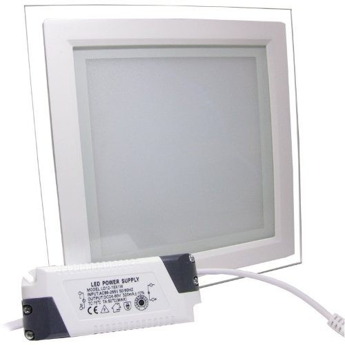 20 luminária embutir 18w led quad branca fria vidro bivolt