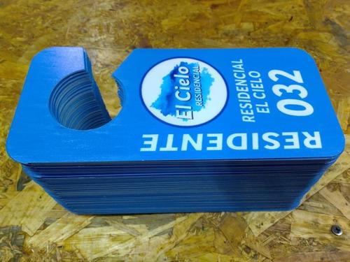 20 marbetes  plastico 1 mm impresos con tinta uv