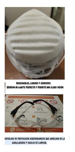 20 mascarillas sencillas(no n95)+ 1 lentes+ 1 gel $420