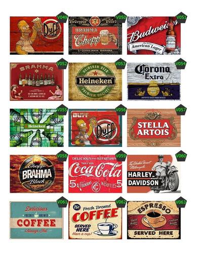 20 placas decorativas retro vintage bar bebidas 15x20 cm