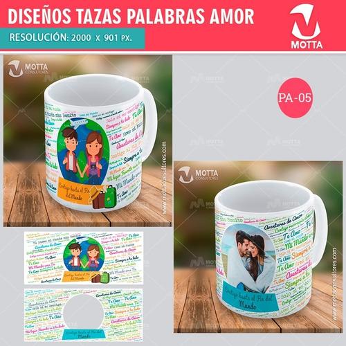 20 plantillas photoshop de tazon sublimacion palabras amor