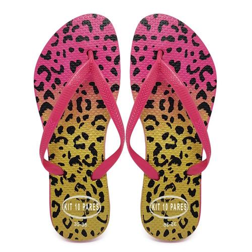 20 pr chinelo sandália rasteira feminina estampa atacado k36