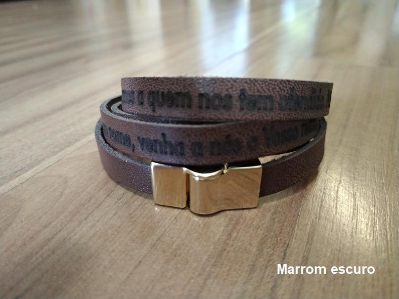1a1659d21 20 pulseiras couro legítimo oração pai nosso fecho ima. Carregando zoom.