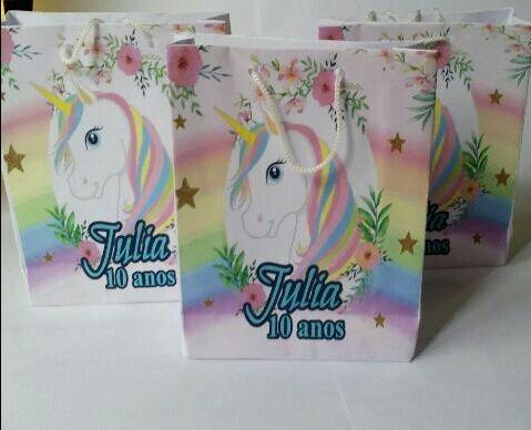 20 Sacolinha Personalizada Tema Unicornio R 6580 Em Mercado Livre