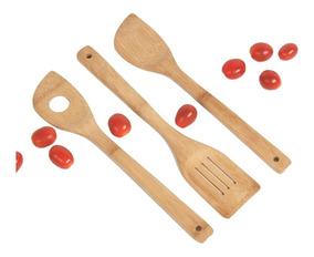 Madera 20 Bambú Utensilios Set Paleta2 1 Cucharas Cocina Pn0Ok8w