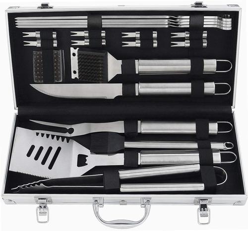 20 set utensilios cubiertos profesional asador en inoxidable