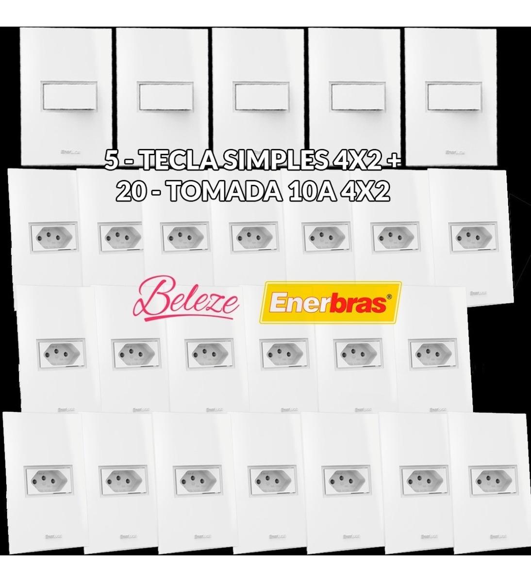 898400952fac53 20 Tomadas + 5 Interruptores Modular Beleze Branca Enerbras