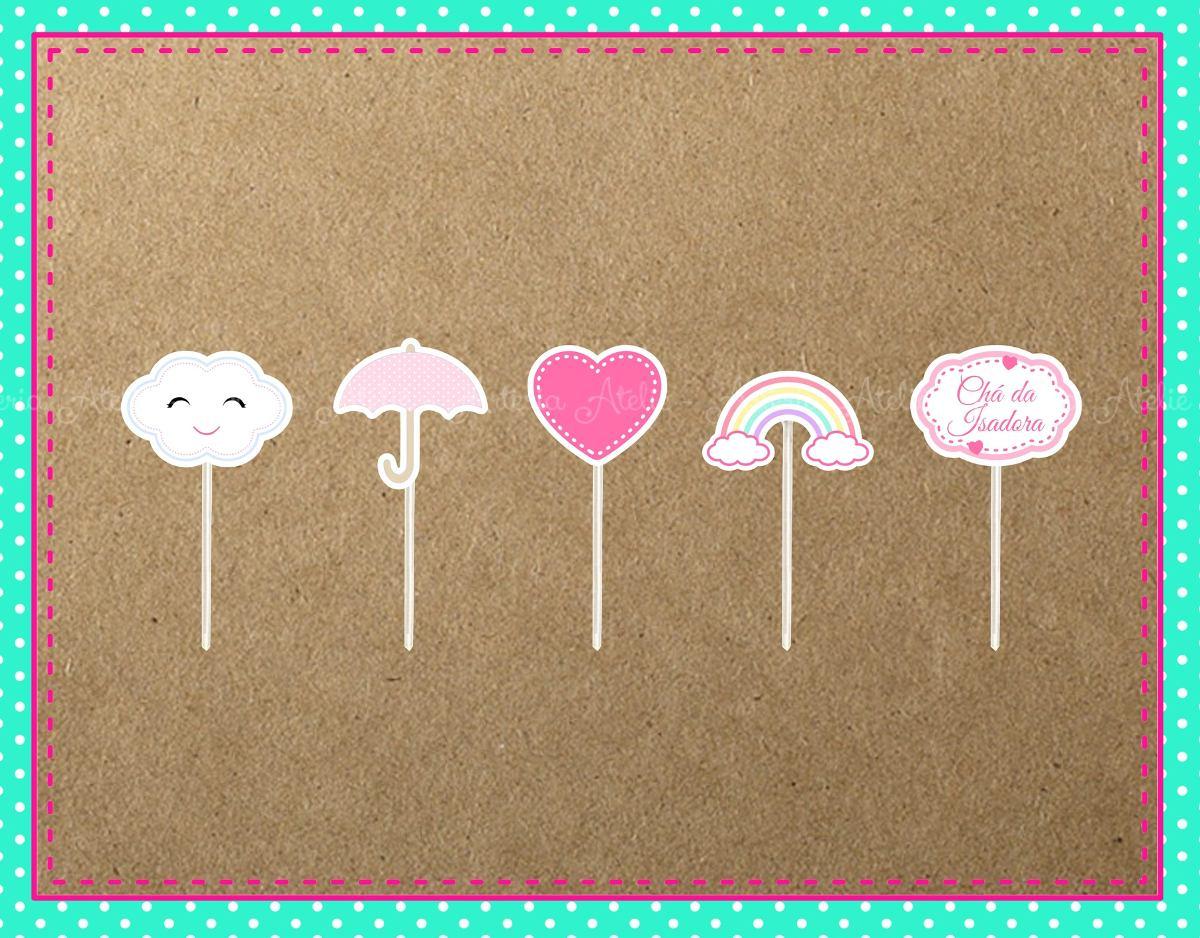 20 topper aplique docinho tema chuva de amor ben os nuvem. Black Bedroom Furniture Sets. Home Design Ideas
