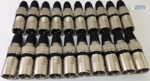 20 unidades plug canon dmx 512 fêmea linha profissional dj