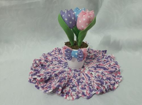 20 vasinho com 3 tulipa em tecido - lembrancinha