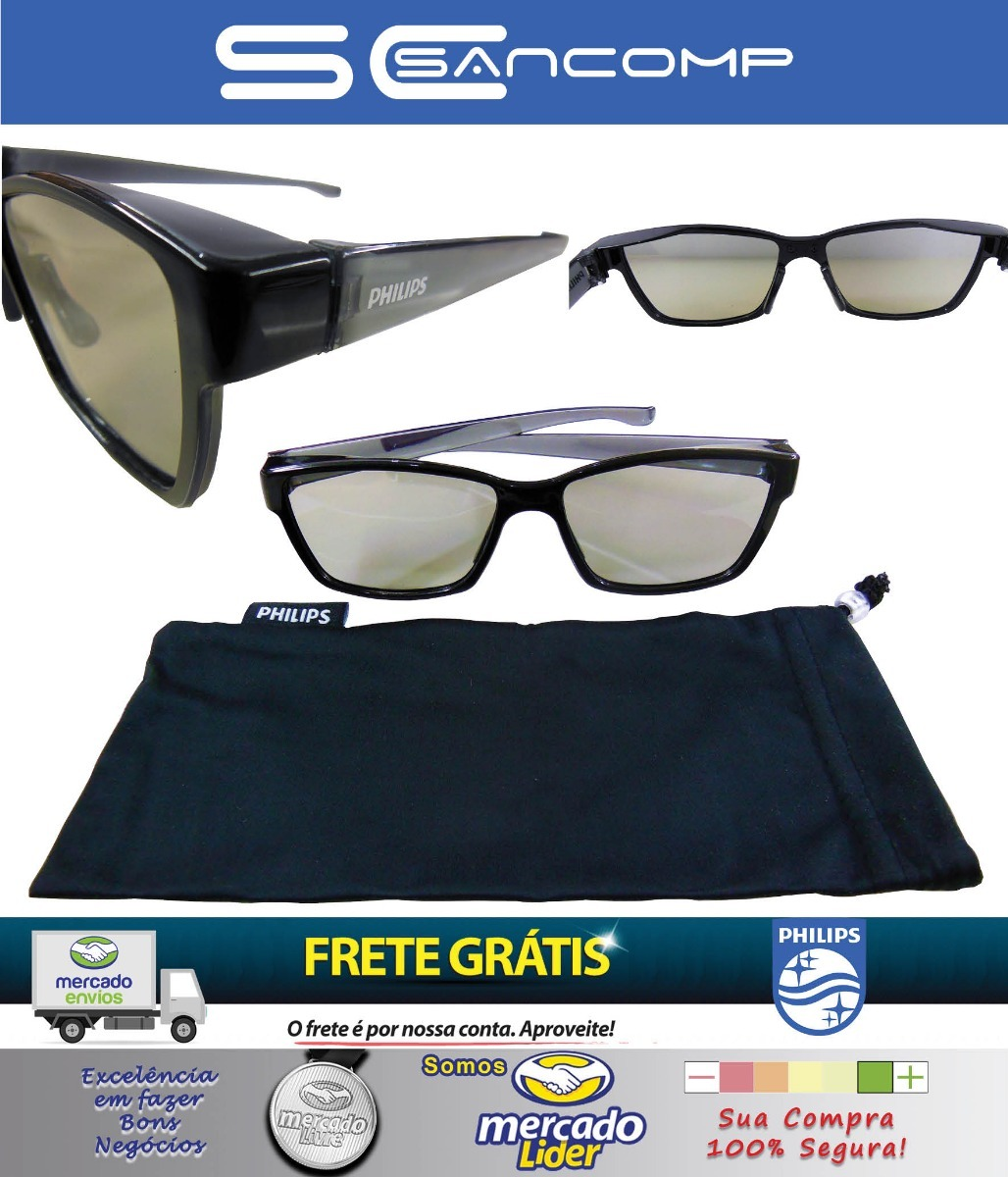 518661c04ec1c 20 X Oculos 3d Philips 3d Passivo Polarizado Original 100% - R  220 ...