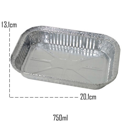 200 - bandeja / marmitex alumínio retangular 500ml e 750 ml