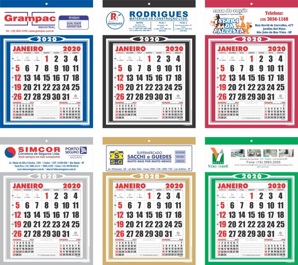 Calendario 2020 Pdf Brasil.200 Calendarios Folhinhas 2020 Personalizada Comercial 27x37