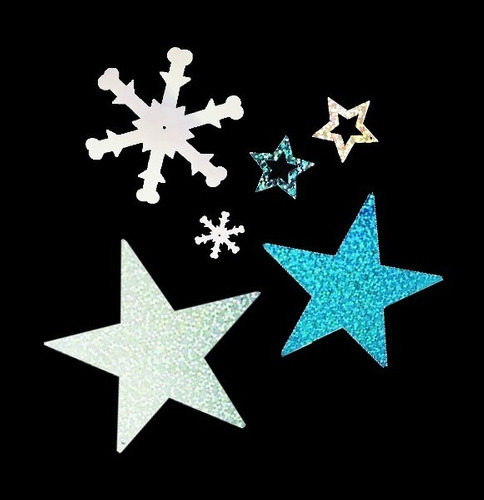 200 copos de nieve y estrellas glitter fiesta frozen decora
