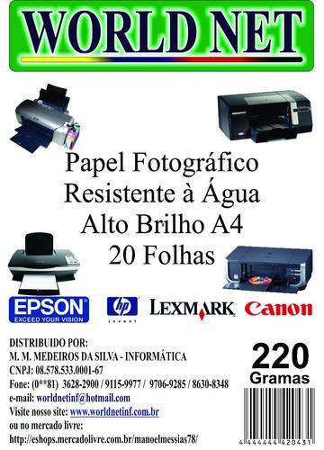 200 folhas papel fotografico a4 220grs
