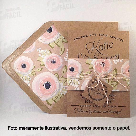 200 Folhas Papel Kraft 200g A4 P Convite Casamento Rústico R 55