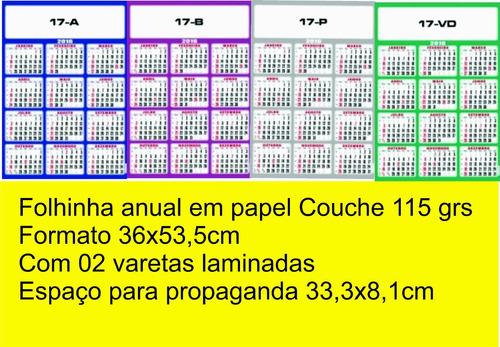 200 folhinhas anual em papel couche 115 grs formato36x53,5cm