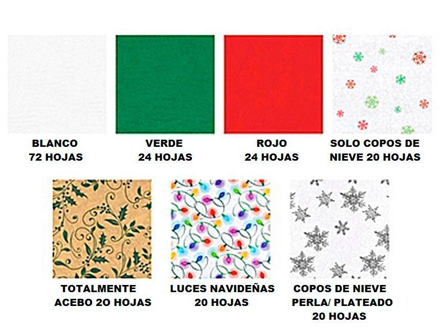 200 Hojas De Papel China Surtido Navideño 4 Diseños 3 Color ...