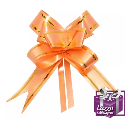 200 laço pratico lacinho magico laranja 12mmx25cm