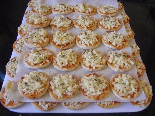 200 mini pizzas congeladas - pré assadas -  produto pronto!