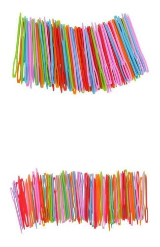 200 piezas de agujas de coser de plástico para niños de pu