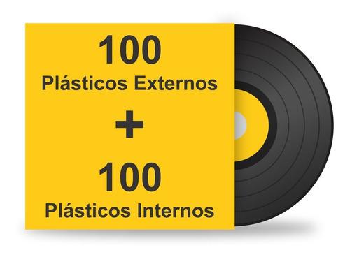 200 plásticos interno externo. proteção para lp disco vinil
