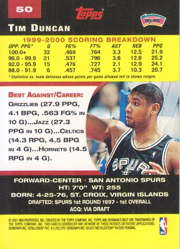2000-01 bowman's best tim duncan spurs