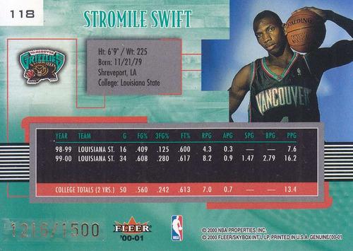 2000-01 fleer genuine rookie stromile swift grizzlies /1500