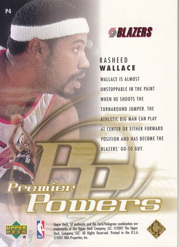 2000-01 sp authentic premier powers rasheed wallace tblazers