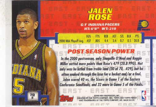 2000-01 topps finest title quest jalen rose pacers