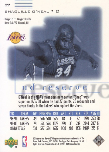 2000-01 ud reserve shaquille o'neal lakers