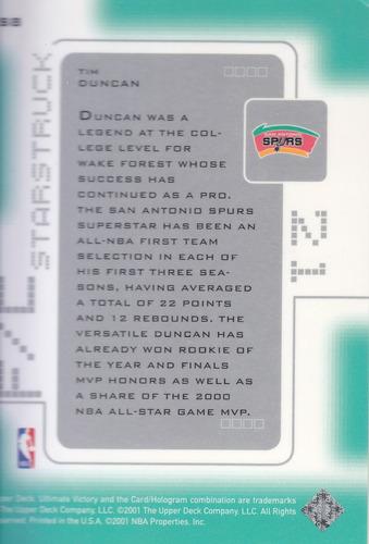 2000-01 ultimate victory starstruck tim duncan spurs