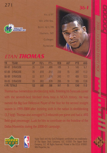 2000-01 upper deck rookie etan thomas mavericks