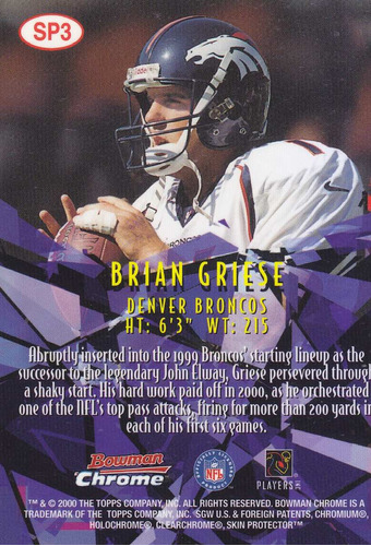 2000 bowman chrome shattering performers brian griese qb