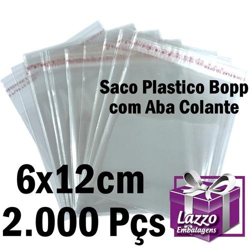 2.000 saco adesivado plastico transparente 6x12+3 cm aba
