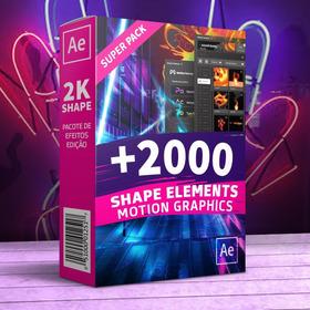 2000 Shape Elements Motion Graphics Edição After Effects