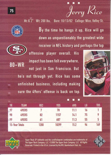 2000 sp authentic jerry rice wr 49ers