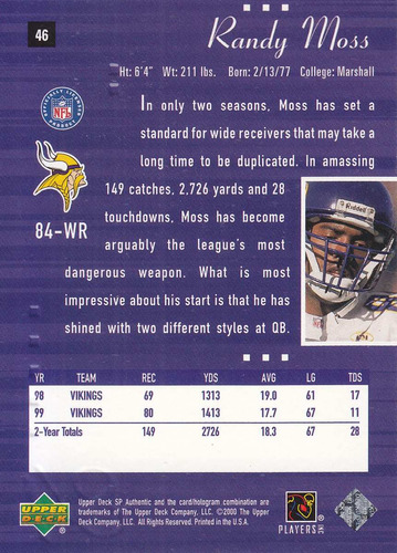 2000 sp authentic randy moss wr vikings